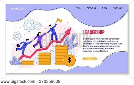 Sales Training And Leadership Concept Showing An Increasing Arrow Graph And Stacked Gold Coins With