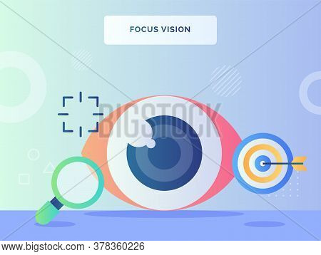 Focus Vision Concept Retina Eye Nearby Lupe Arrow Shot On Target With Flat Style