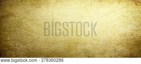 Gold Background With Vintage Texture, Yellow Background With Brown Border, Old Yellow Paper Or Parch