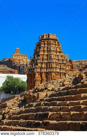 Badami,Karnataka, India - January 2,2019:  It was the regal capital of the Badami Chalukyas from AD 540 to 757 in east-central Karnataka, India.