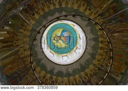 Moscow, Russia - November 11, 2019: Ceiling Painting In An Orthodox Church. Church Of The Resurrecti