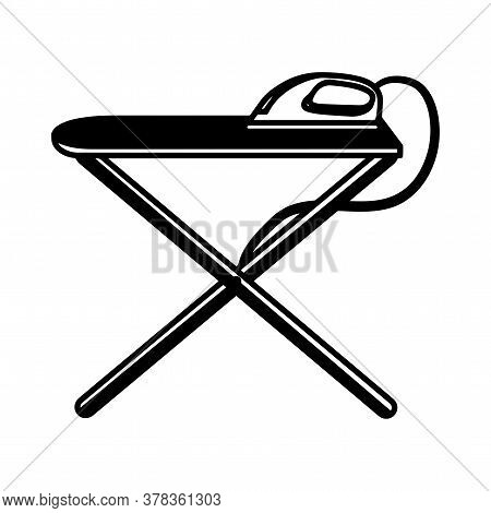Ironing Board Icon With Iron. Laundry Icon - Vector