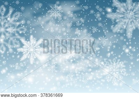 Winter Background With Falling Snow And White Snowy Hills. Cold Winter Christmas And New Year Backgr