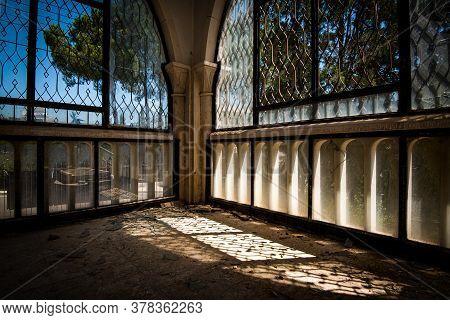 Abandoned House Veranda Room With View Through Broken Windows And Doors