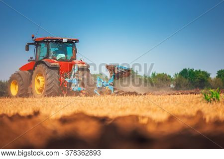 Tractor Plowing The Fields, Countryside Agricultural Landscape
