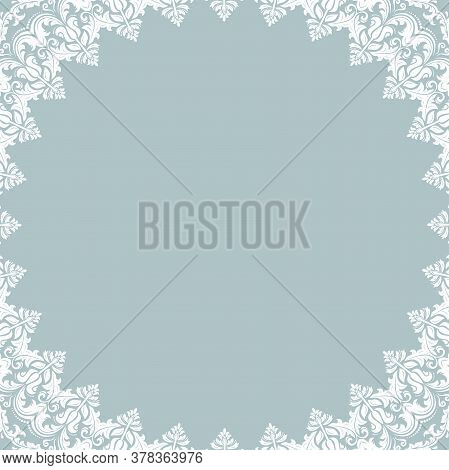 Classic Vector White Square Frame With Arabesques And Orient Elements. Abstract Ornament With Place