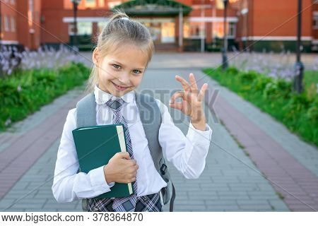 Happy Smiling Girl Goes To The Elementary School. Child With A Grey Backpack, Green Book And In The