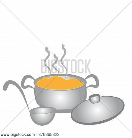 Casserole With Boiling Soup And Ladle Isolated On White Background.