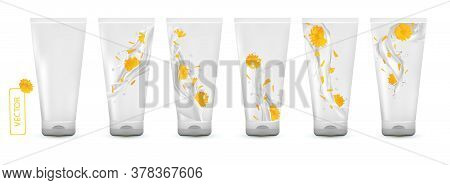 Collection Calendula Cream In Tube. Milk Splash With Flower Marigold. Cosmetic Product. 3d Realistic