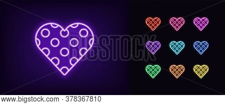 Neon Heart Icon. Glowing Neon Heart Sign With Circle Texture, Amour Shape In Vivid Colors. Romantic