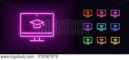 Neon Online Education Icon. Glowing Neon Webinar Sign, Digital Study In Vivid Colors. Video Course,