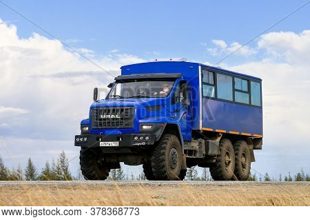 Novyy Urengoy, Russia - May 23, 2020: Shift Bus Ural 32551 Next At The Interurban Road.