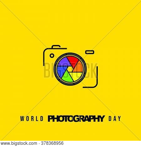 Line Art Design Of Camera With Colorful Shutter Vector Illustration. Good Template For World Photogr