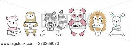 Cute Baby Animal Ready For A Hugging. Set Funny Cartoon Pet On White Background. Vector Illustration