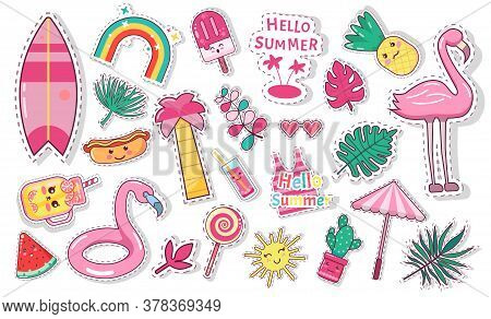 Set Of Cute Summer Icons: Food, Drinks, Palm Leaves, Fruits, Ice Cream And Flamingo. Bright Summerti