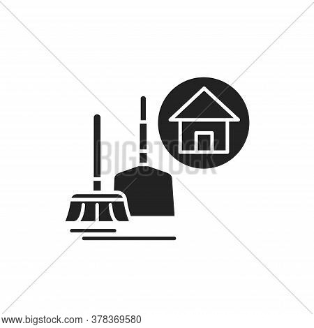 House Cleaning Black Glyph Icon. Handyman Service. Disposing Of Rubbish, Cleaning Dirty Surfaces, Du
