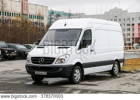Novyy Urengoy, Russia - May 16, 2020: White Cargo Van Mercedes-benz Sprinter (w906) In The City Stre