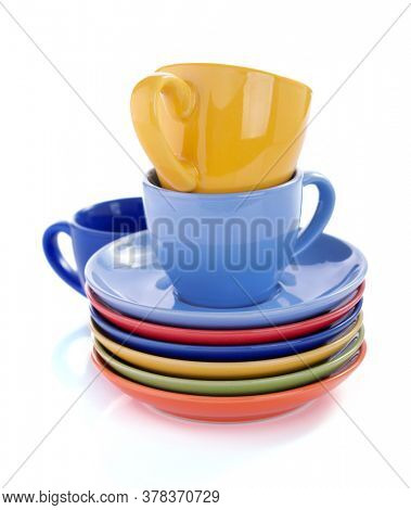 coffee cup and plate saucer isolated at white  background