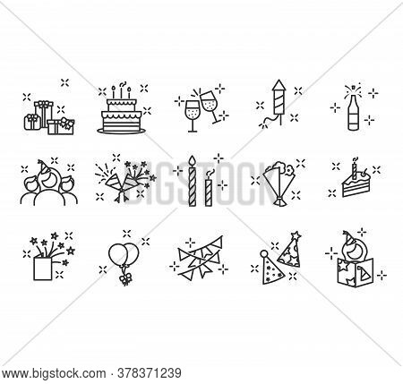 Premium Set Of Party Line Icons. Happy Birthday Party. Confetti, Cocktail, Guitar, Beer, Gift, Flag