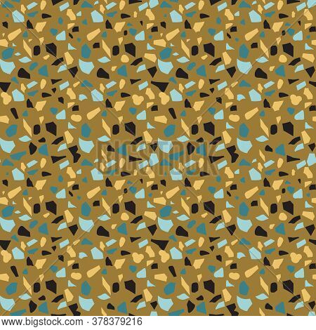 Seamless Abstract Mosaic Pattern Imitating Venetian Terrazzo Flooring. Figured Fragments Of Yellow,