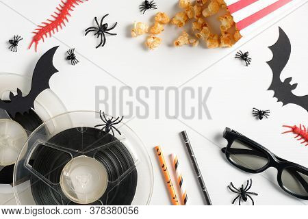 Halloween Night Party, Watching Horror Movie Concept. Flat Lay Composition With Halloween Decoration