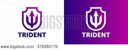 Trident Logo Template Vector Icon Illustration Design. Abstract Color Gradient Logotype. Trident Ico