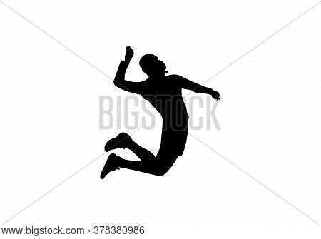 Silhouette Of Volleyball Player. Modern Simple Volleyball Logo Vector Illustration
