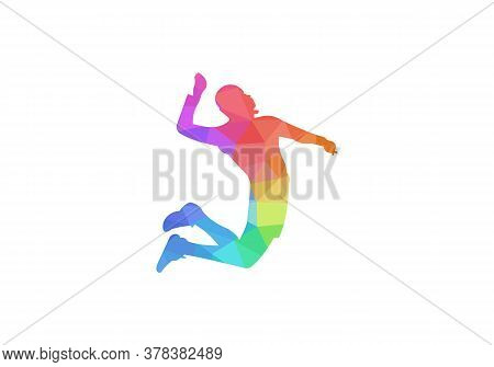 Silhouette Of Volleyball Player. Modern Simple Volleyball Vector Illustration. Geometric Volleyball