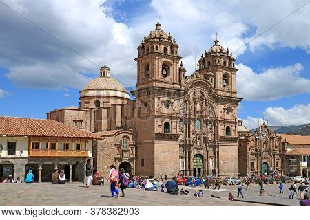 Stunning Facade Of Church Of The Society Of Jesus Or Iglesia De La Compania De Jesus On Plaza De Arm