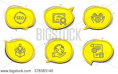 Settings Blueprint Sign. Diploma Certificate, Save Planet Chat Bubbles. Augmented Reality, Seo And E