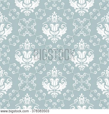 Classic Seamless Pattern. Damask Orient Ornament. Classic Vintage Light Blue And White Background. O