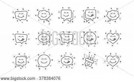 Emoticon Speech Bubble, Social Media Message, Smile With Tongue. Yummy Smile Line Icons. Tasty Food