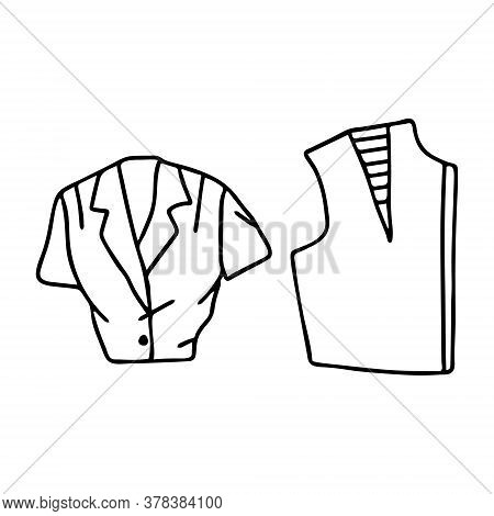 Beautiful Hand-drawn Fashion Vector Illustration Of A Ladys Shirt For Girls And Women And A Blouse P