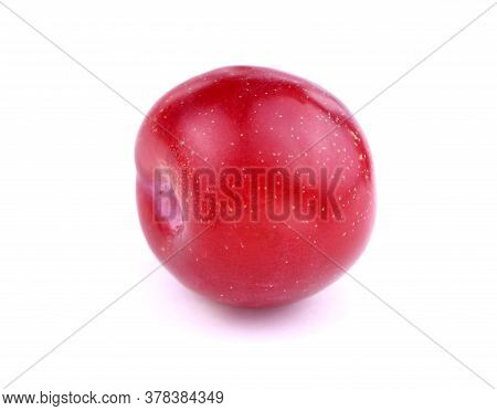 Red Plum Isolated On A White Background. Ripe Plum. Healthy Food.