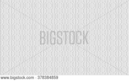 White Geometric Background. Paper With Embossed Effect Texture. Vector Eps10