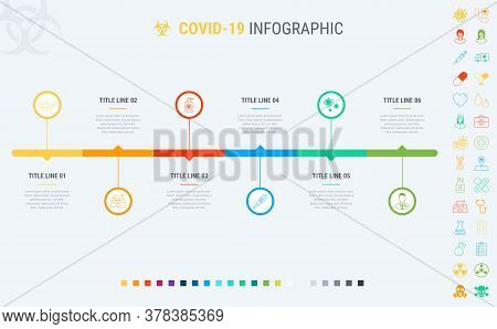 Colorful Diagram Of Covid-19 Infographic Template. Timeline With 6 Steps. Coronavirus Workflow Diagr