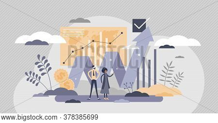 Financial Market With Money Value Growth Chart Flat Tiny Person Concept. Investment Business Improve