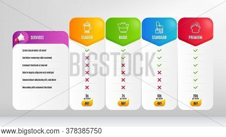 Cooking Hat, Milk Jug And Latte Coffee Line Icons Set. Pricing Table, Price List. Tea Bag Sign. Chef