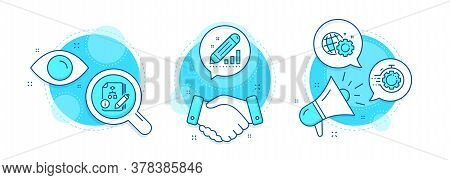 Seo Timer, Edit Statistics And Seo Gear Line Icons Set. Handshake Deal, Research And Promotion Compl