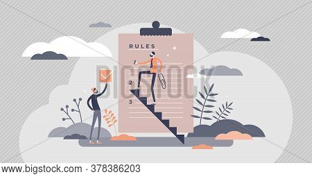 Rules Regulation Information As Legal Guideline Checklist Tiny Persons Concept. Forbidden Laws And R