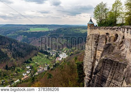 Fortress Wall. Fortress Koenigstein In Saxon Switzerland, Germany. The Impenetrable Wall Of The Fort