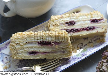 Puff Pastry Napoleon With Cream And Cherry