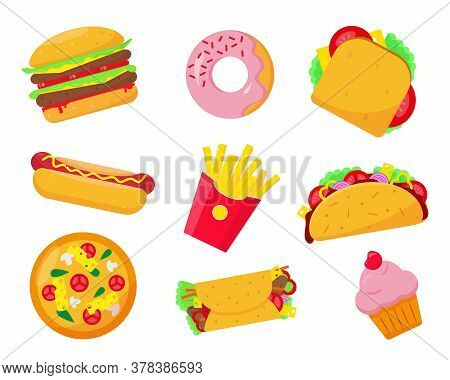 Fast Food Set Icons Vector Illustration On White Background. Fast Or Unhealthy Food Elements.