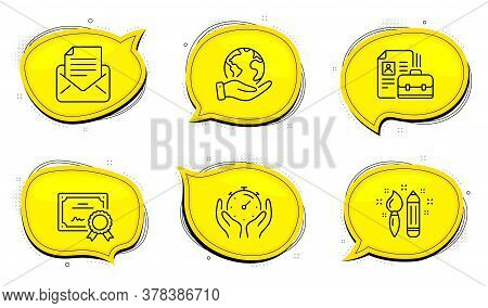 Timer Sign. Diploma Certificate, Save Planet Chat Bubbles. Mail Correspondence, Vacancy And Creativi