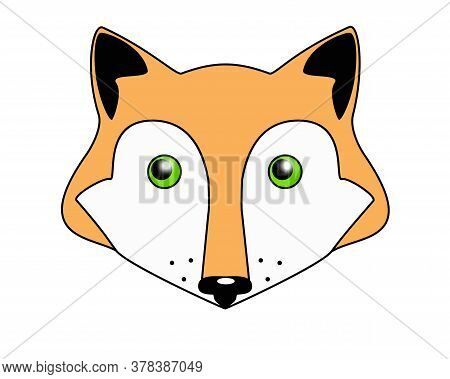 Red-haired Green-eyed Fox - Vector Full Color Illustration. Fox Head - Cute Picture, Baby, Smile.