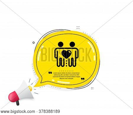 Friends Couple Icon. Quote Speech Bubble. Friendship Sign. Assistance Business Symbol. Quotation Mar