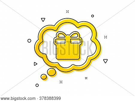 Present Box In Comic Speech Bubble Sign. Dreaming Of Gift Icon. Birthday Shopping Symbol. Package In