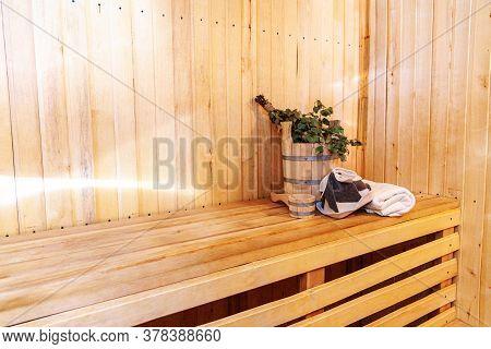Interior Details Finnish Sauna Steam Room With Traditional Sauna Accessories Basin Birch Broom Scoop