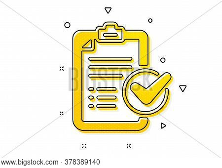 Report Sign. Survey Checklist Icon. Business Review Symbol. Yellow Circles Pattern. Classic Survey C