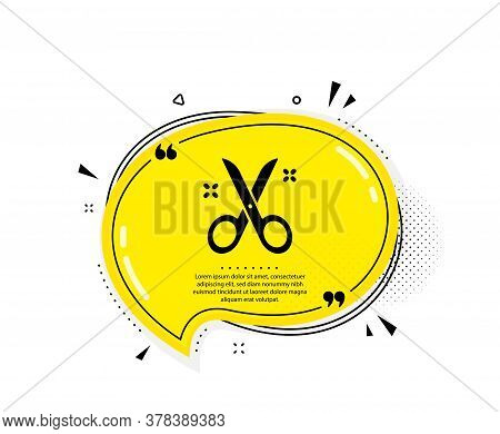 Scissors Icon. Quote Speech Bubble. Cutting Tool Sign. Tailor Utensil Symbol. Quotation Marks. Class